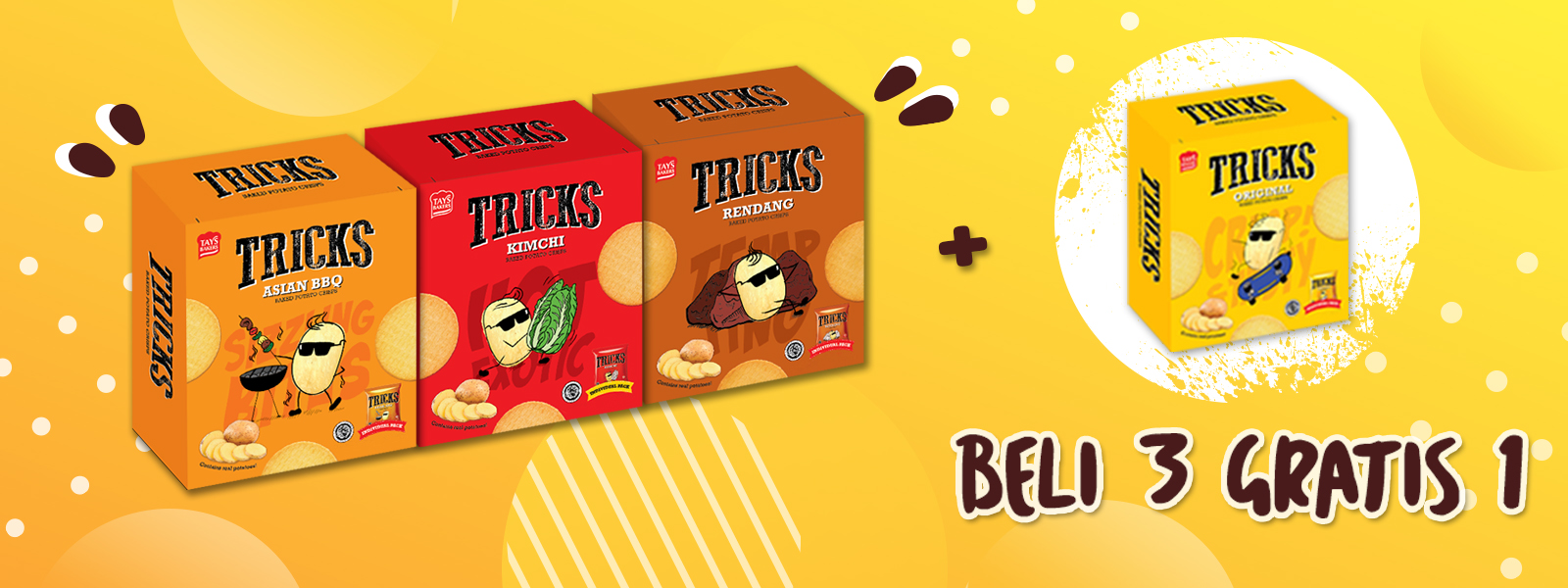 Tricks promo buy 3 get 1 free - Snack potato chips - Tays